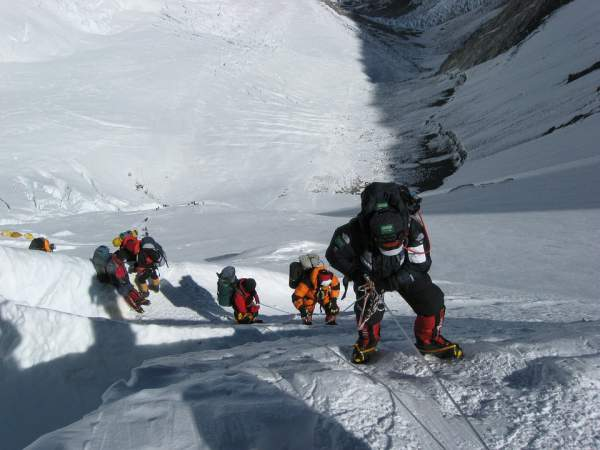 Climbers on the route to Mt Everest.