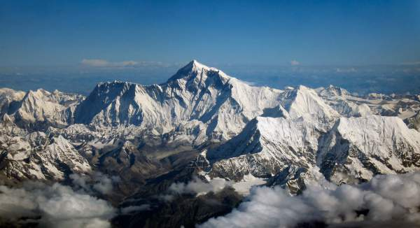 Mt Everest, aerial photo from the south.