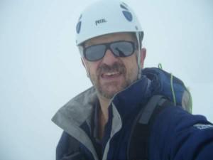 Selfie on the summit of Lagginhorn 4010 m, Swiss Alps.