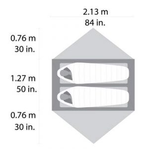 The tent dimensions.