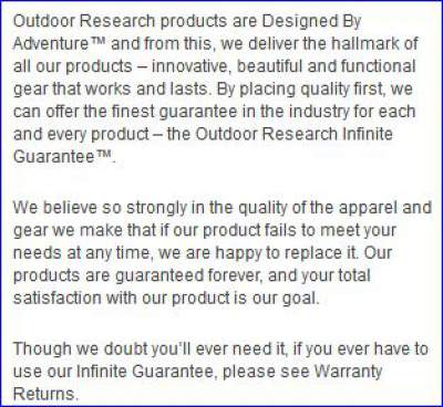 Infinite guarantee by Outdoor Research.