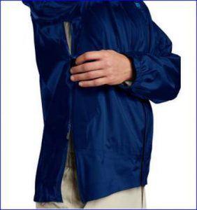 Full length zipper from hem to biceps.