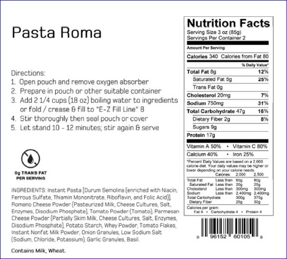 Pasta Roma nutritional details.