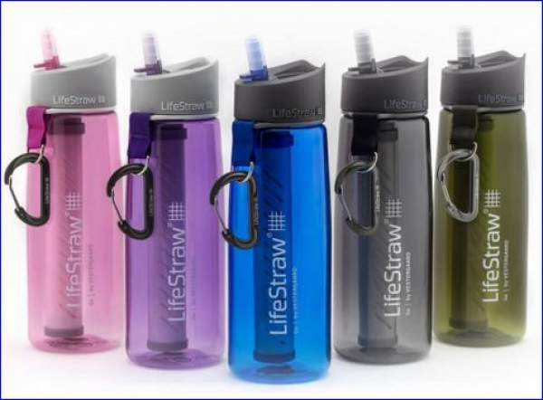 New LifeStraw Go water bottle with carbon filter in several different colors.