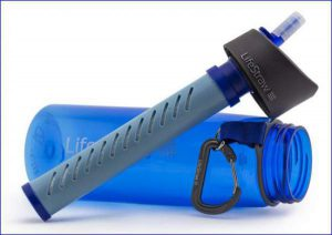 The bottle with integrated 1000 liter LifeStraw filter.
