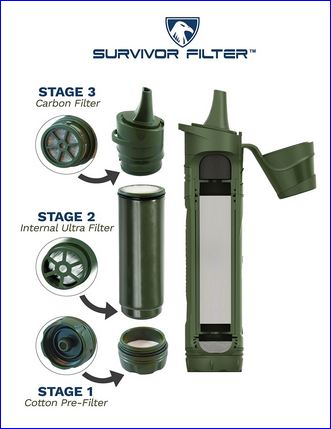 All elements of the Survivor Filter with a triple filtration system.