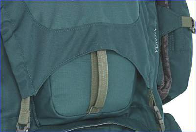 The front pocket covered by the lid.