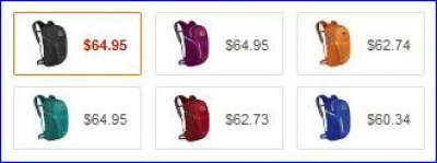 All colors of Osprey Daylite Plus backpack.