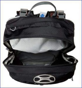 Top view, the main compartment and the hydration sleeve behind.