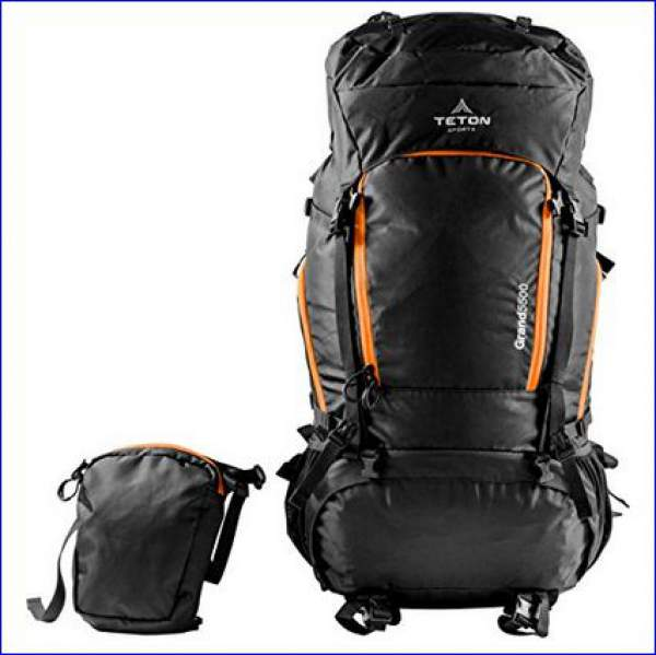 The front pocket detached and the front view of the pack.