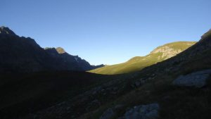 First sunlight, the lower part of the route.