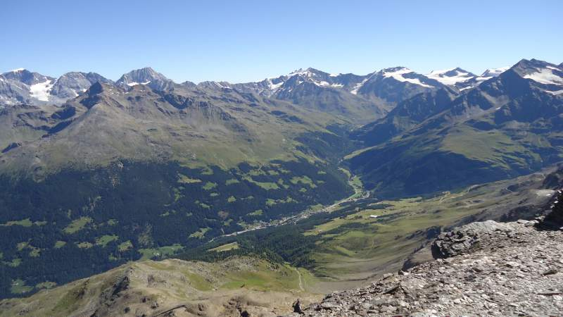 Valfurva seen from the summit and Gran Zebru in the distance.