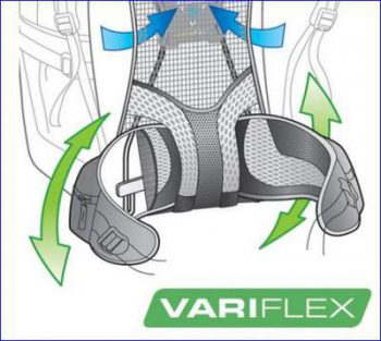 Vary Flex pivoting hip belt system.