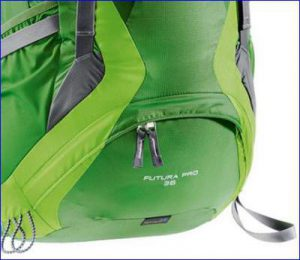 The bottom compartment and attachment loops.