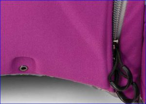 The bottom hole and the zippered entrance pull loops on the back side.