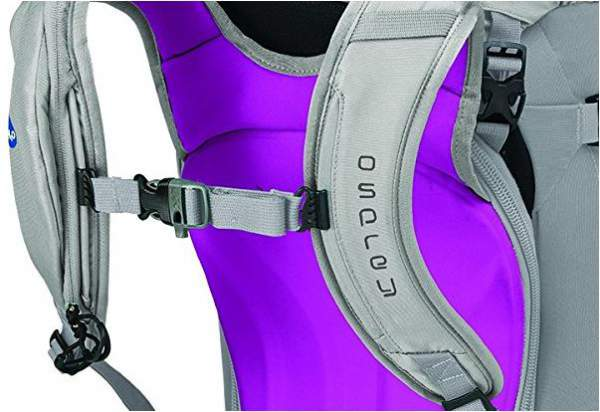Osprey Kresta 40 - details: snow-shedding back panel and insulated sleeve for water tube on the shoulder strap.