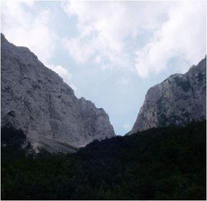 View from Vrata valley towards Luknja pass.