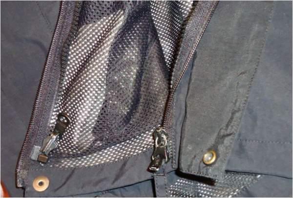 The internal zipper on my own rain shell jacket, to zip in the fleece jacket.