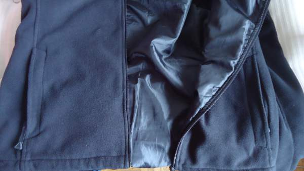 One of my own fleece jackets, with liner. Exceptionally warm and comfortable, but the liner is not stretchy.