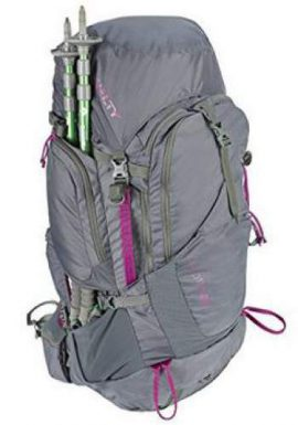 Kelty Coyote 60 pack for women with its pass-through pocket.