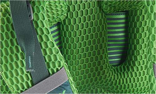 The hex mesh covering all the suspension system. Also visible is the space for the harness movement up and down.
