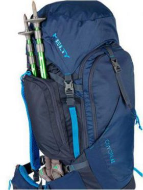Kelty Coyote 65 front view and pass-through side pocket.