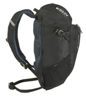 Kelty Redtail 27 pack - side view showing the side straps and side stretch pockets.