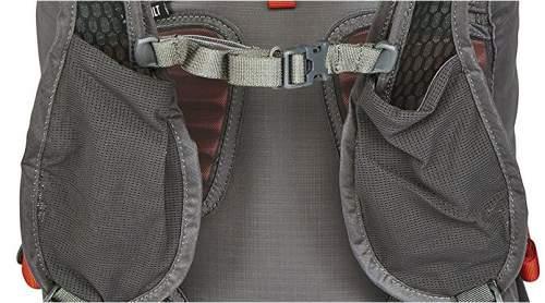 Dual pockets on shoulder straps.