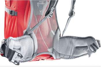 Lumbar zone without padding in Deuter Futura 32.