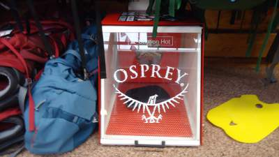 Osprey's oven for molding the hip belt and harness in my local outdoor shop.