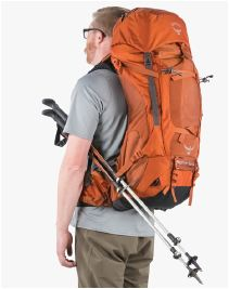 Stow-on the-Go trekking pole attachment system.