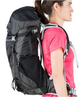 The side view showing the space between the pack and the body.