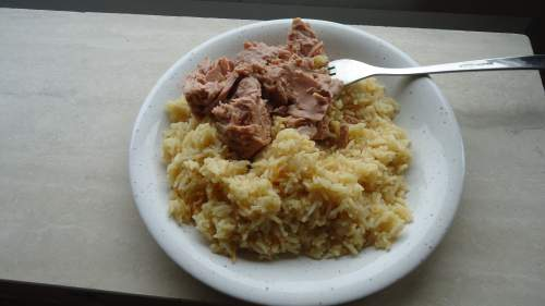 My rice with added paprika and the tuna from the can.