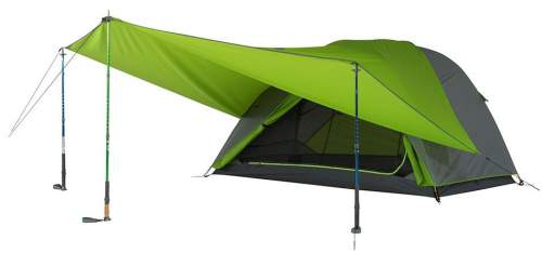 The Upslope Tarp used as an awning with a Kelty TN tent.