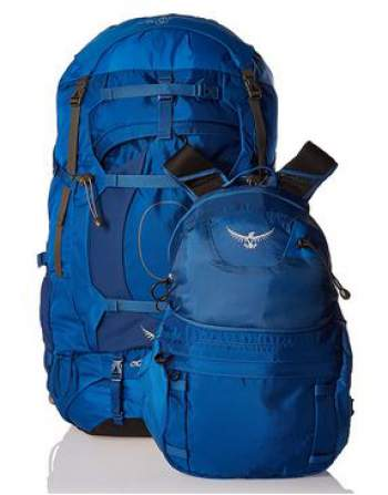 The DayLid daypack, and the main pack in lidless use with the integrated flap.