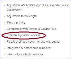 The statement about external hydration access.