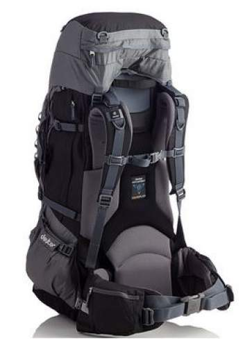 Deuter Aircontact PRO 70 + 15. The adjustable lid allows for 15 liters of extra volume.