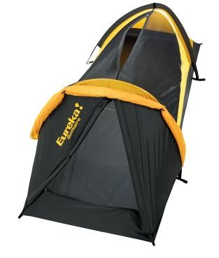 Eureka Solitaire solo tent with the fly rolled up. Both the top and front entrances are visible.