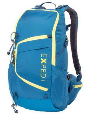 Exped Skyline 15 Daypack front view. The yellow zippers are for the main access and the extra front access.