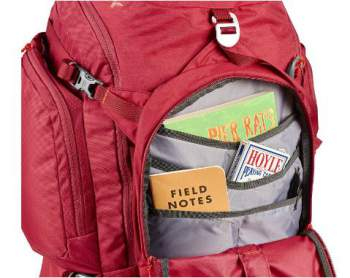 Kelty Redwing 50 with its front organization pocket. It needs rain protection.
