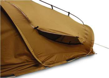 The tent is without standard vents. But there are two doors and it is possible to use one for extra ventilation, as shown in this picture.