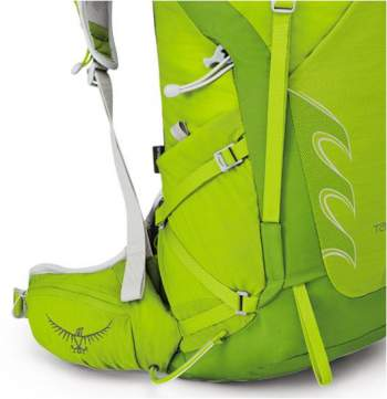 The Z-shaped side strap. The Stow-on-the-Go system is also shown and the attachment loop with its bungee cord.