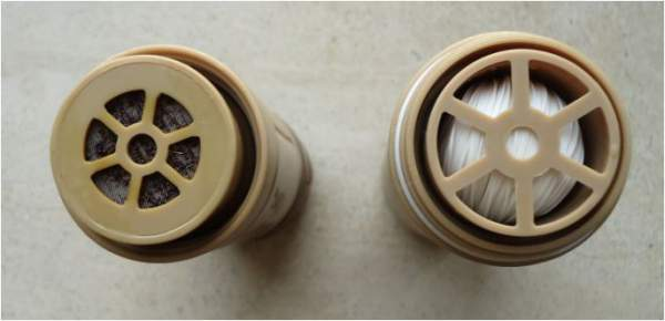 The entrances to both cartridges: ViroBac purifier on the left and micro-fiber filter on the right.