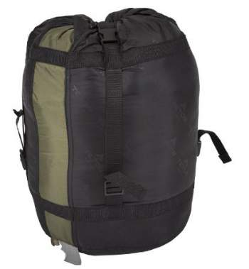 Robust stuff sack with compression straps and a handle.