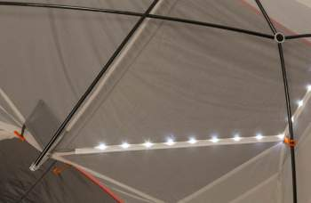 LED light strand is integrated into tent seams.