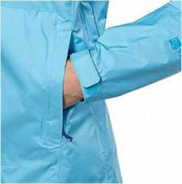 Velcro adjustment tab on cuff and storm flap on the pocket zipper.
