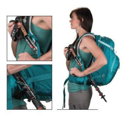 Stow-on-the-Go trekking pole attachment.