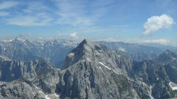 Jalovec mountain as seen from the summit of Mangart, from my climb in 2010.