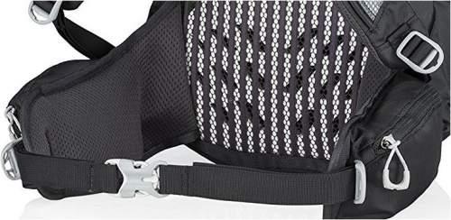 The lumbar zone padding and the hip belt with zippered pockets.