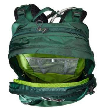 135b299c009 Top view showing the external water sleeve zipper, and the main compartment  with a mesh